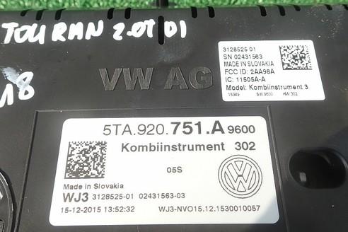 VW TOURAN 2016 2.0 TDI LICZNIK ZEGARY  5TA920751A