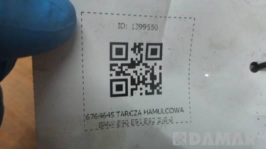 6764645 TARCZA HAMULCOWA BMW E90 E91 E92 2.0 d