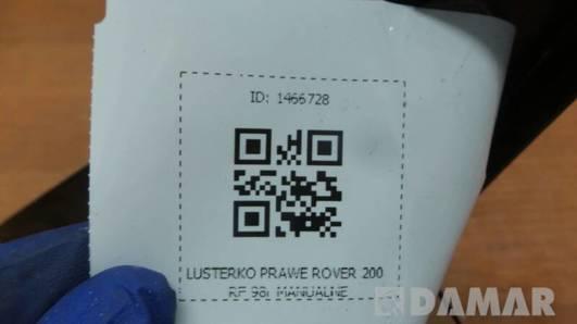 LUSTERKO PRAWE ROVER 200 RF 98r MANUALNE