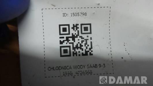 CHLODNICA WODY SAAB 9-3 1998r 4726568