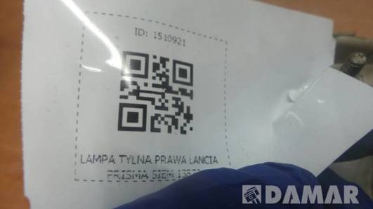 LAMPA TYLNA PRAWA LANCIA PRISMA SIEM 13870