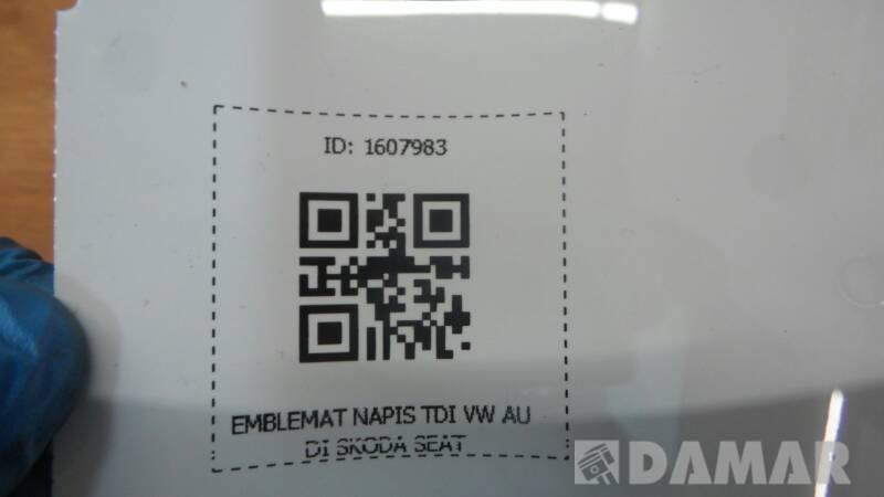 EMBLEMAT NAPIS TDI VW AUDI SKODA SEAT