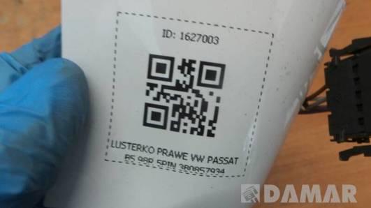 LUSTERKO PRAWE VW PASSAT B5 98R 5PIN 3B0857934