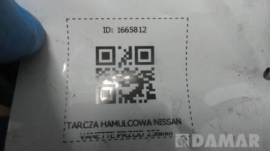 TARCZA HAMULCOWA NISSAN VANETTE PRZOD 256mm