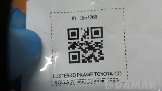 LUSTERKO PRAWE TOYOTA COROLLA E9 3PIN CZARNE 1992r