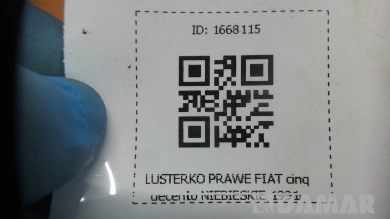 LUSTERKO PRAWE FIAT CINQUECENTO NIEBIESKIE 1991r
