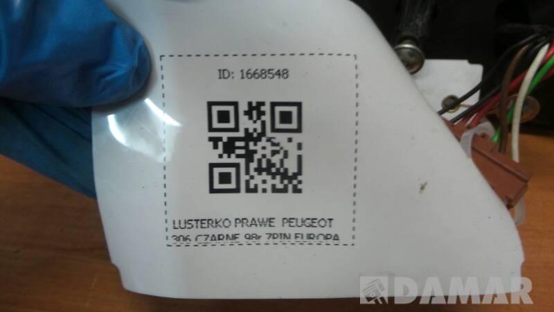 LUSTERKO PRAWE  PEUGEOT 306 CZARNE 98r 7PIN EUROPA