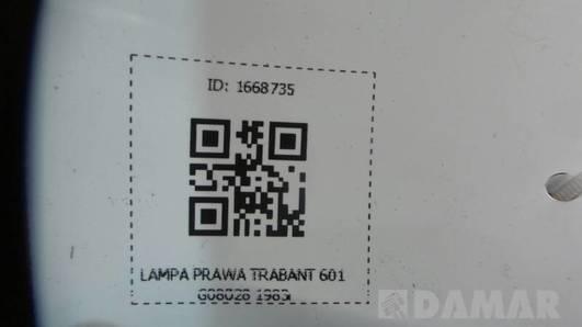 G08028  LAMPA PRAWA TRABANT 601 1983r