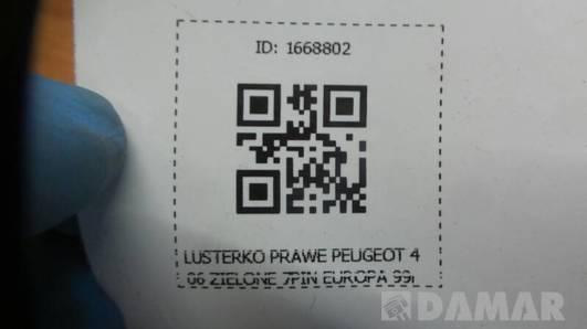 LUSTERKO PRAWE PEUGEOT 406 ZIELONE 7PIN EUROPA 99r