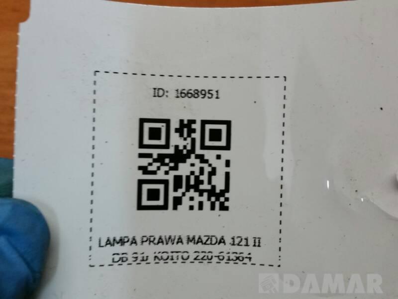 LAMPA PRAWA MAZDA 121 II DB 91r KOITO 220-61364