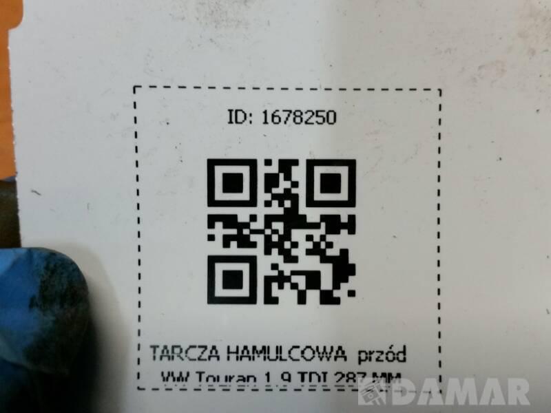TARCZA HAMULCOWA  PRZOD VW TOUARAN 1.9 TDI 287 MM