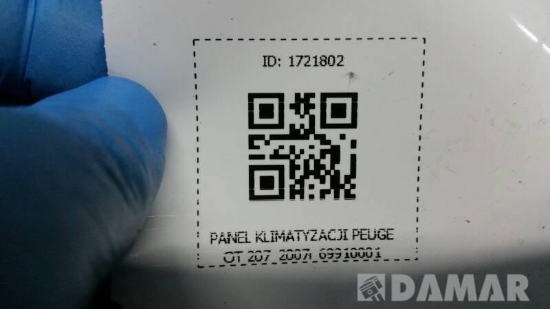 69910001 PANEL KLIMATYZACJI PEUGEOT 207 07r