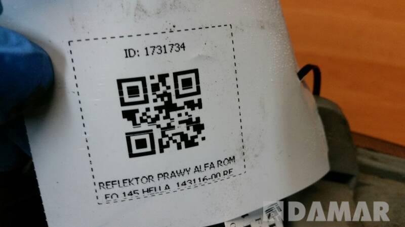 143116-00 RE REFLEKTOR PRAWY ALFA ROMEO 145 HELLA