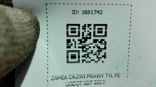 ZAMEK DRZWI PRAWY TYL PEUGEOT 607 2007r
