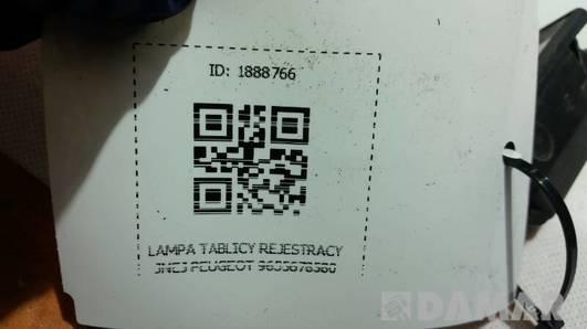 9635678580 LAMPKA TABLICY REJESTRACYJNEJ PEUGEOT