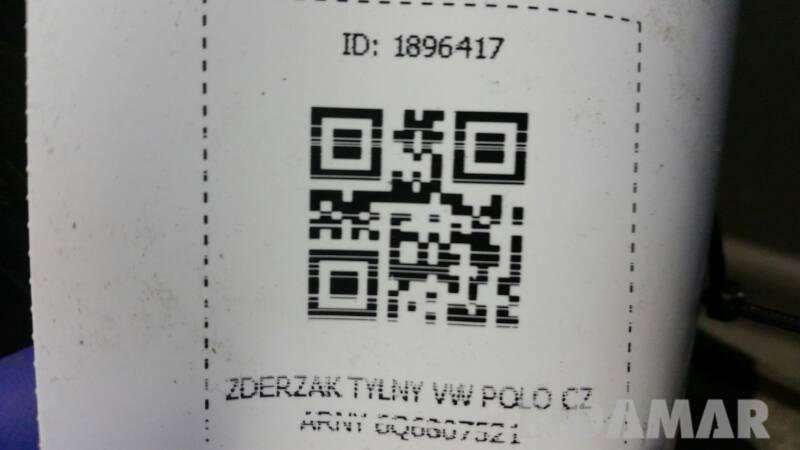 ZDERZAK TYLNY VW POLO CZARNY 6Q6807521