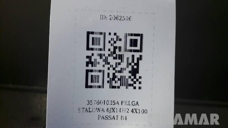 357601025A FELGA STALOWA 6JX14H2 4X100 PASSAT B4