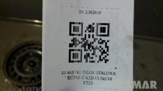 KBA45742 FELGA STALOWA VECTRA C 6,5Jx15 5x110 ET35