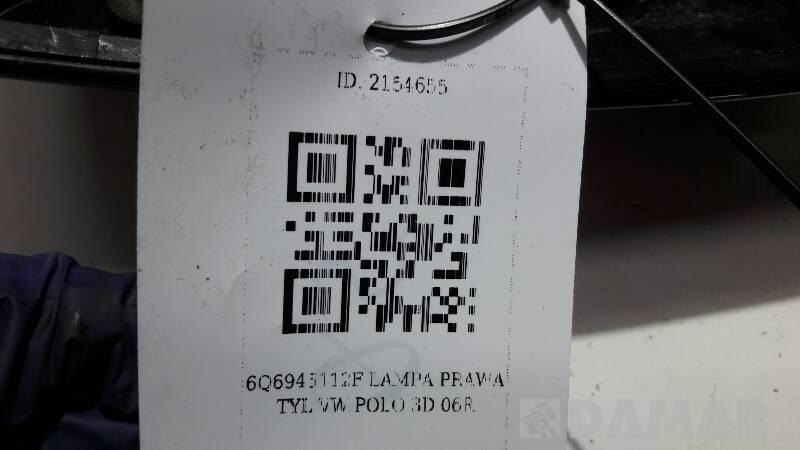 6Q6945112F LAMPA PRAWA TYL VW POLO 3D 06R