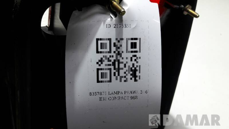 8357876 LAMPA PRAWA BMW 316 E36 COMPACT 96R