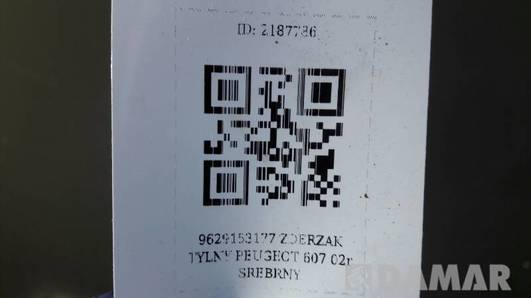 9629153177 ZDERZAK TYLNY PEUGEOT 607 02r SREBRNY