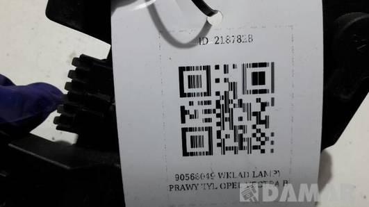 90568049 WKLAD LAMPY PRAWY TYL OPEL VECTRA  B