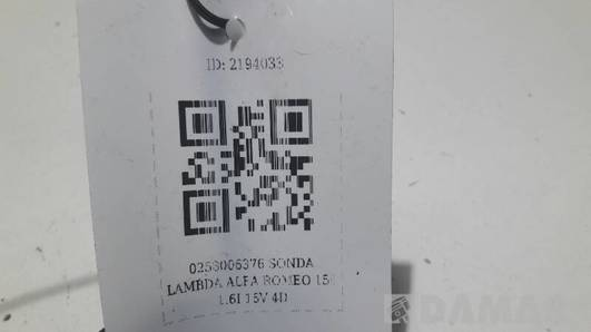 0258006376 SONDA LAMBDA ALFA ROMEO 156 1.6I 16V 4D
