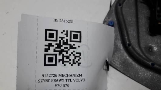 9152726 MECHANIZM SZYBY PRAWY TYL VOLVO V70 S70