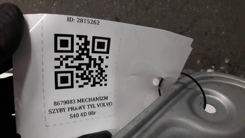 8679083 MECHANIZM SZYBY PRAWY TYL VOLVO S40 4D 08r