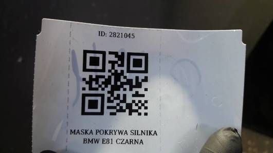 MASKA POKRYWA SILNIKA BMW E81 CZARNA