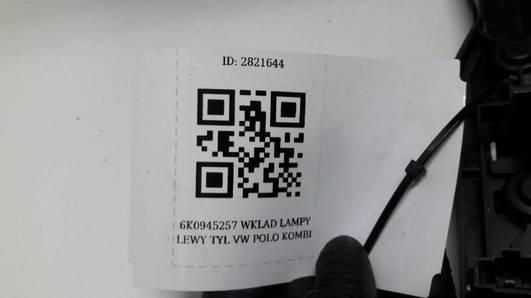 6K0945257 WKLAD LAMPY LEWY TYL VW POLO KOMBI