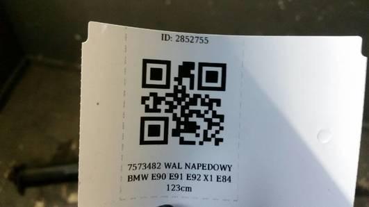 7573482 WAL NAPEDOWY BMW E90 E91 E92 X1 E84 123cm