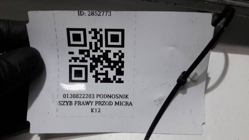 0130822203 PODNOSNIK SZYB PRAWY PRZOD MICRA K12