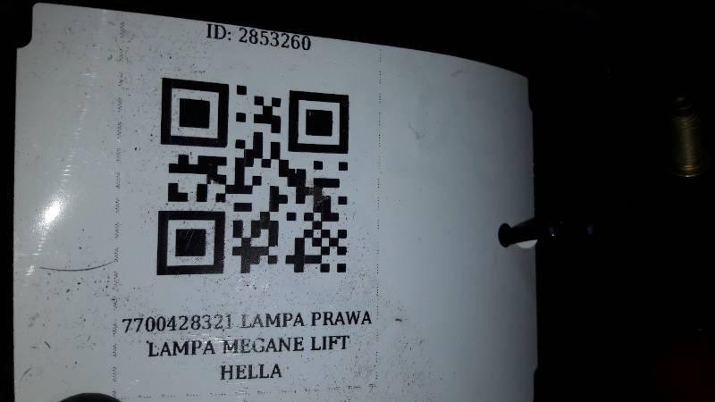 7700428321 LAMPA  PRAWA LAMPA MEGANE LIFT HELLA