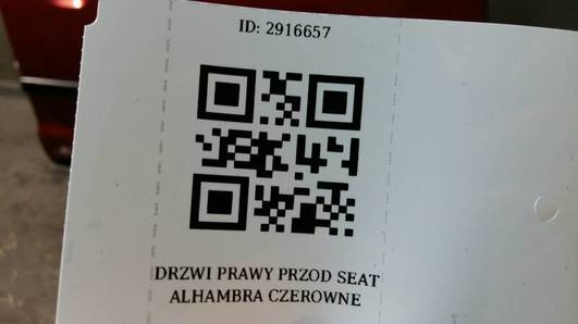 DRZWI PRAWY PRZOD SEAT ALHAMBRA CZEROWNE