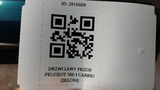 DRZWI LEWY PRZOD PEUGEOT 306 I CABRIO ZIELONE