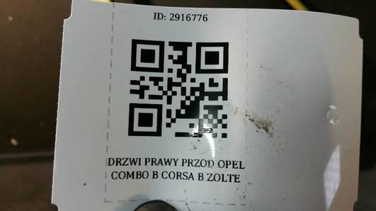 DRZWI PRAWY PRZOD OPEL COMBO B CORSA B ZOLTE