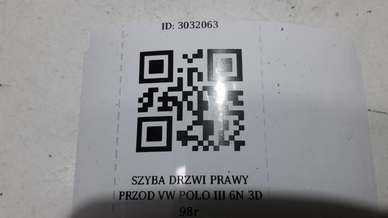 SZYBA DRZWI PRAWY PRZOD VW POLO III 6N 3D 98r
