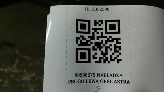 90590675 NAKLADKA PROGU LEWA OPEL ASTRA G 5D