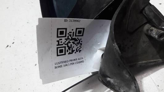 LUSTERKO PRAWE ALFA ROME 164 5 PIN CZARNE