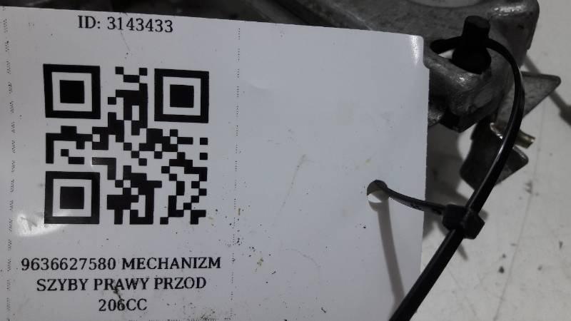 9636627580 MECHANIZM SZYBY PRAWY PRZOD 206CC