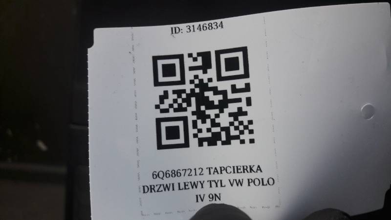 6Q6867212 TAPCIERKA DRZWI LEWY TYL VW POLO IV 9N
