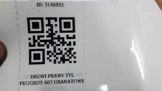 DRZWI PRAWY TYL PEUGEOT 607 GRANATOWE
