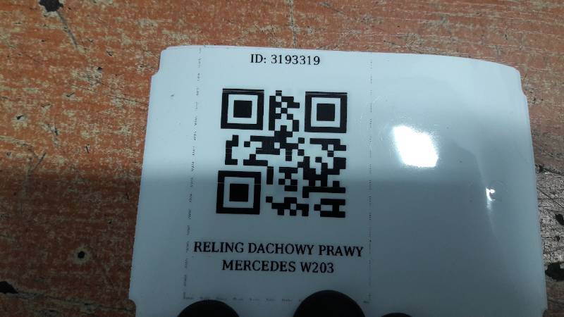 RELING DACHOWY PRAWY MERCEDES W203