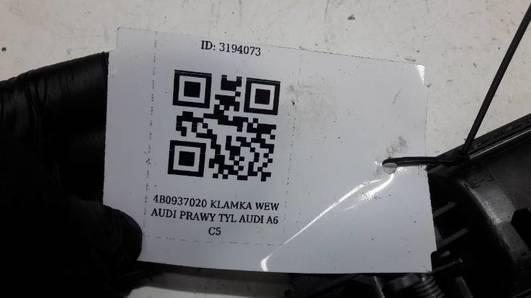 4B0837020 KLAMKA WEW AUDI PRAWY TYL AUDI A6 C5