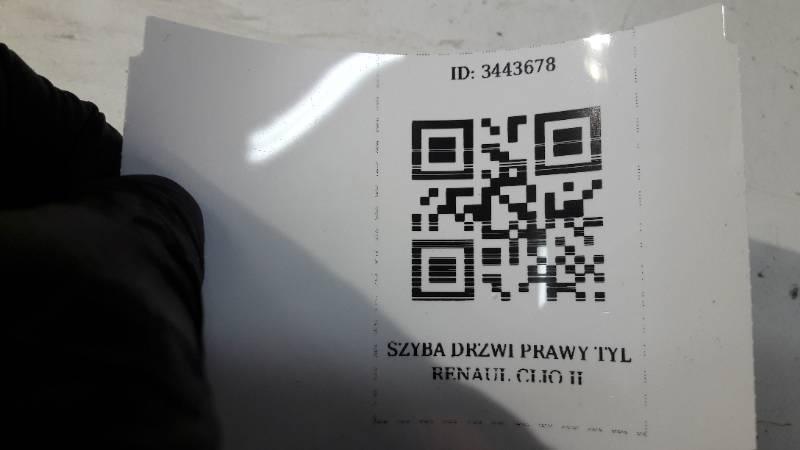 SZYBA DRZWI PRAWY TYL RENAULT CLIO II 99R