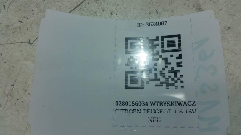 0280156034 WTRYSKIWACZ CITROEN PEUGEOT 1.6 16V NFU