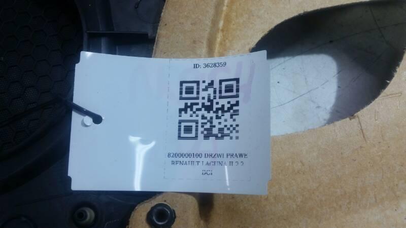 8200000100 DRZWI PRAWE  RENAULT LAGUNA II 2.2 DCI