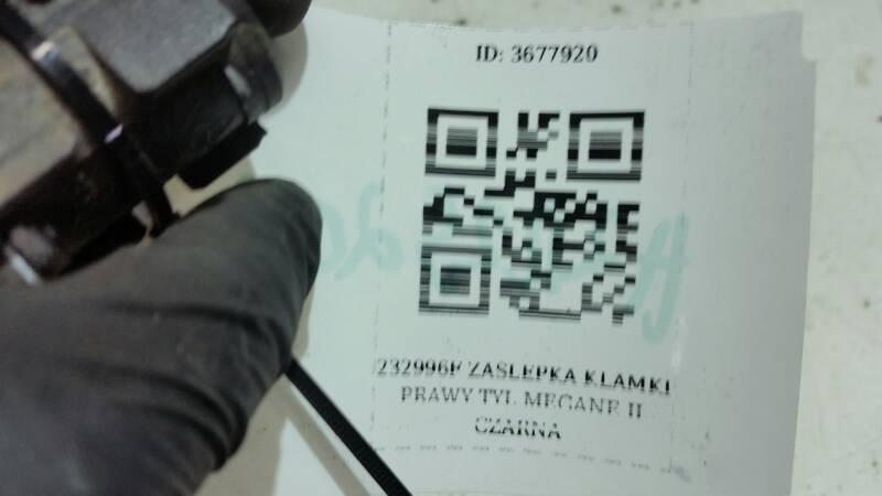 232996F ZASLEPKA KLAMKI PRAWY TYL MEGANE II CZARNA