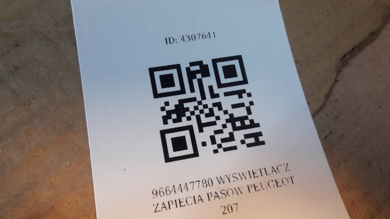 9664447780 WYSWIETLACZ ZAPIECIA PASOW PEUGEOT 207